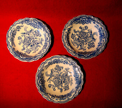 Crown Ducal *bristol* Set Of 3 Blue Dessert Bowls 5 1/4""
