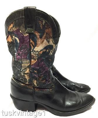 VINTAGE Black LEATHER muted FLORAL tapestry leg short mid COWBOY BOOTS 6