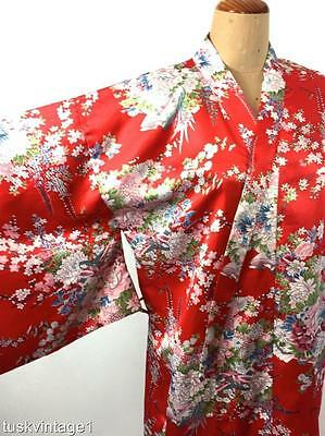 VINTAGE RED floral blossoms pink blue silky satin MAXI KIMONO robe jacket