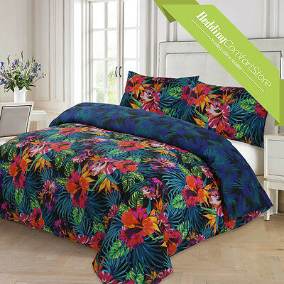 New Dark Tropical Floral Reversible Duvet Quilt Cover Single Double King Size