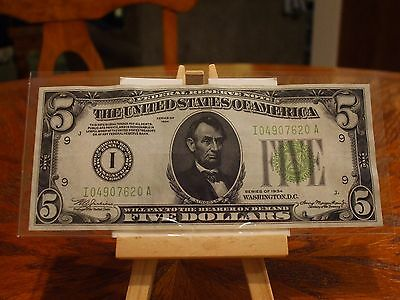 1934 $5 Federal Reserve Note,ch/au,well Inked Minneapolis, Mn. Rare District
