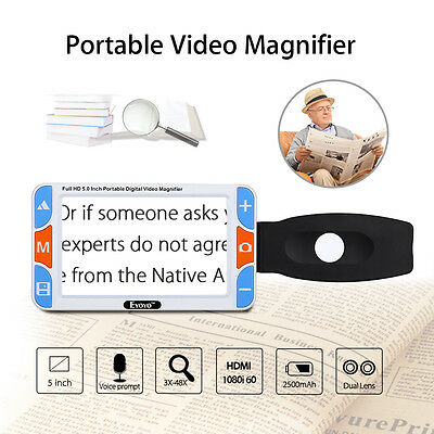 """5.0"""" TFT Portable Video Digital Magnifier Reading Aid 3X-48X Support HDMI To TV"""