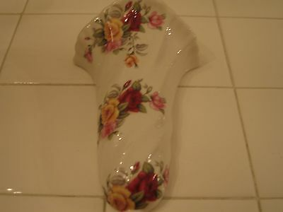 New Pink And Yellow Rose Chintz Victorian Style Porcelain Wall Pocket Planter