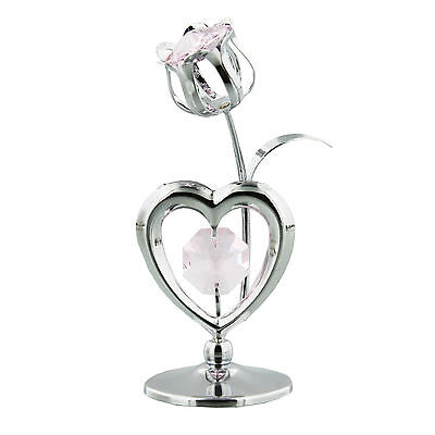 Small Silver Coloured Crystocraft Chrome Plated Tulip and Heart Ornament  SF