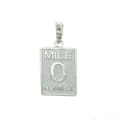 Sterling Silver Travel Charm Pendant, Small Mile Marker 0 Key West, Florida