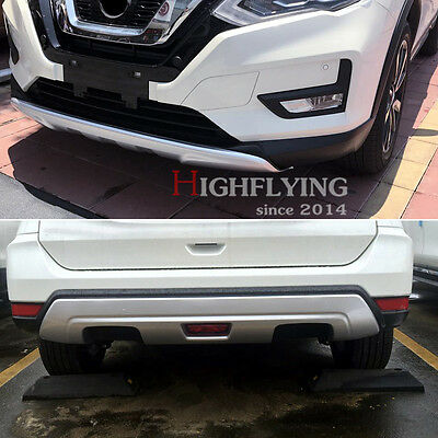 For Nissan X-trail Rogue 2017 ABS Front & Rear Bumper Skid Protector Plate Trim