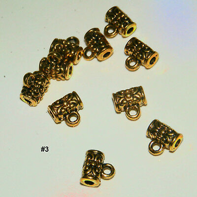 10 European Gold Tube Bail Beads Spacers Connectors For Charms #3