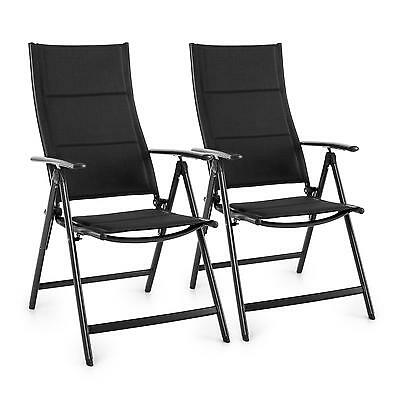 Folding Garden Chair Waterproof Home Aluminium Patio Durable Outdoor Black X 2