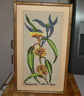 Vintage 42 x 24.5cm Framed Sunflower Sun Flower Tapestry Decorative Wall Hanging