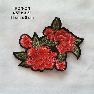 Red Roses Embroidered Iron-on Patch Hot Melt Flower Applique