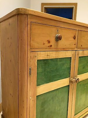 Antique Victorian Pine Dresser Cupboard With Drawers