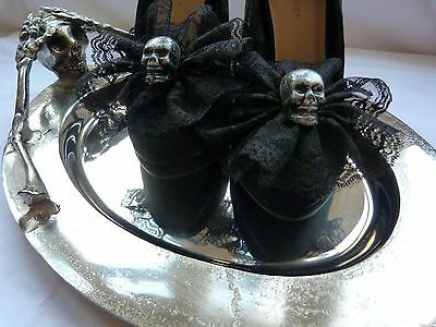 3D Skull and Black Lace Shoe Clips (pair) - Goth, Steampunk, Handcrafted
