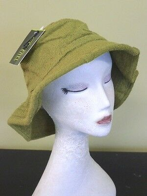 Daggy Mens Boys 59cm Khaki Green Cotton Terry Towelling Fishing Cricket HAT Cap
