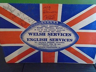 Wales Services v  England Services Rugby Programme 1942  match played in Swansea