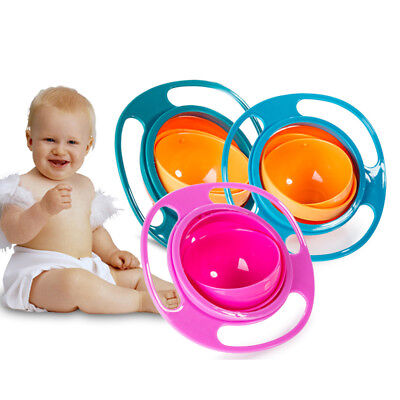 Baby Non Spill Feeding Toddler Kids Gyro 360 Rotating Bowl Avoid Food Spilling