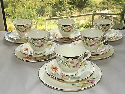 Tuscan China c1930s 6 x Trios Cups Saucers Plates 6124 Coloured Poppies on Lemon