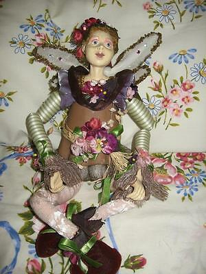 Cloth Doll Artist Tree Stump Fairy-Hand Sculptured Head, Neck, Hand Painted Face