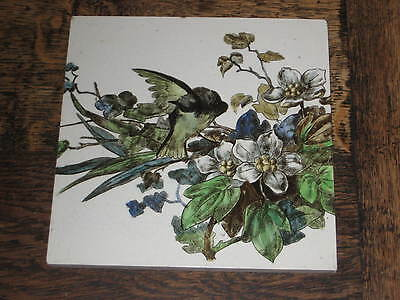 Large Victorian Brown West Head & Moore Tile Aesthetic Bird Flowers Design