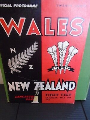 New Zealand v Wales  Rugby Programme New zealand Tour 1969