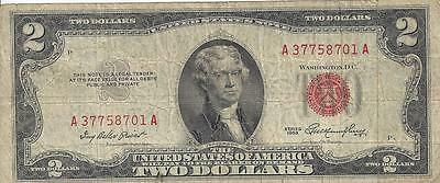 2 Dollar red seal 1953 US Dollar Sammlernote