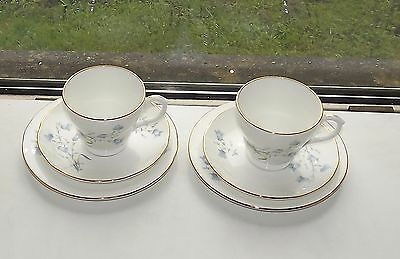 Staffordshire Bone China Trio England Bluebells Pattern 2 x Cups Saucers Plates