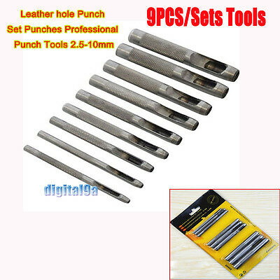 9 pcs Leather hole Punch Set Punches Professional Wood Punch Tools 2.5-10mm
