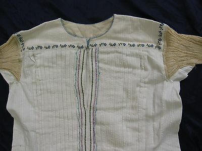 Women Vintage Dress Smock Tribal Chemise Pin tuck Sleeve Long Blouse Embroidery