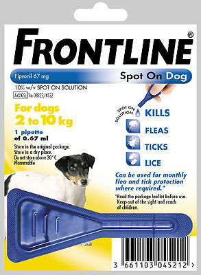Frontline Spot on Flea Treatment for Small Dogs 2-10 kg - ONE PIPETTE