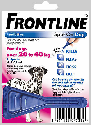 Frontline Spot on Flea Treatment for Large Dogs 20-40 kg - **ONE PIPETTE**