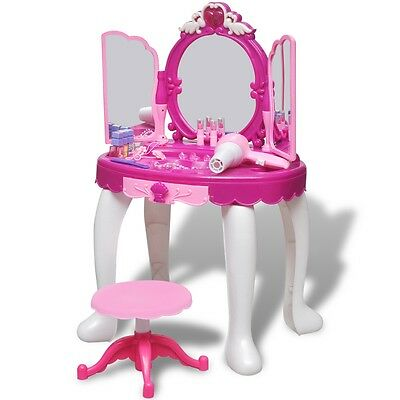 3-Mirror Kid Toy Vanity Dressing Table Make Up Desk Light/Sound Pretend Play