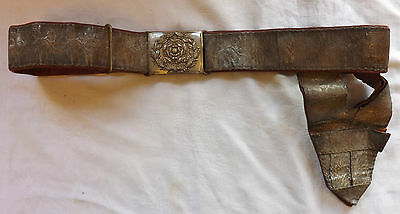 Military Lord-Lieutenants Officers Dress Belt Leather & Silver Wire & Frog (2218