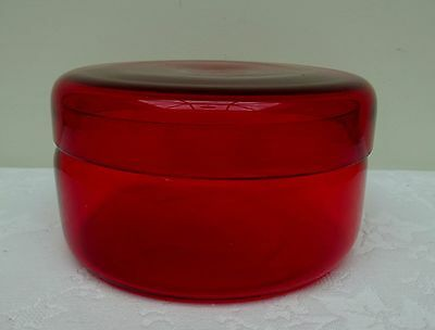 Lidded Ruby Red Glass Dressing Table Powder Pot Jar Trinket Dish Vintage