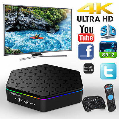 T95Z Plus S912 2GB+16GB TV Box Octa Core Android 6.0 Dual WIFI 4K + Keyboard UK