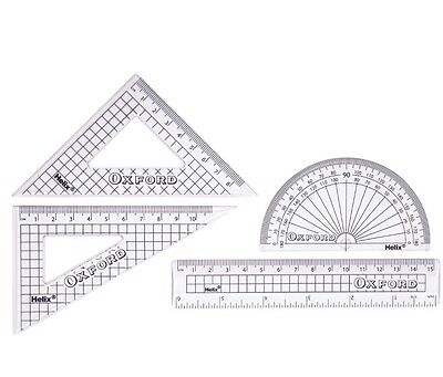Helix OXFORD 15cm Geometry Maths Set, Stationery, Ruler , Set Square ,Protractor