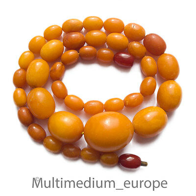 Butterscotch Natur Bernstein Hals kette Oliven real amber necklace 35,2g olive