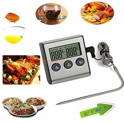 Digital Food Probe Thermometer Timer Kitchen BBQ Oven Temperature& Magnet Stand