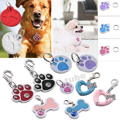 Hot Pet Dog Personalised Engraved Tag Puppy Cat Kitten Cute Paw Collar ID Tags