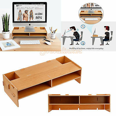 2 Layers Monitor Stand Desktop LCD LED PC Monitor Riser Organizer Rack WOOD