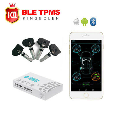 Car Bluetooth 4.0 TPMS Monitor Alarm System Andriod IOS Tire Pressure 4 Sensors