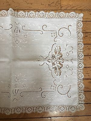 13 Pc Ital. Placemat & Runner w/Reticella & Hand Embroidery White Linen  E33