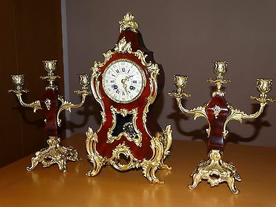 Beautiful Antique French Boulle Mantel Clock Set 1880