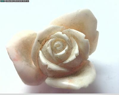 NOS Antique Vintage Carved Coral Flower Large Rose Stone Undyed #OK51
