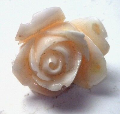 NOS Antique Vintage Carved Coral Flower Large Rose Stone Undyed #OK53