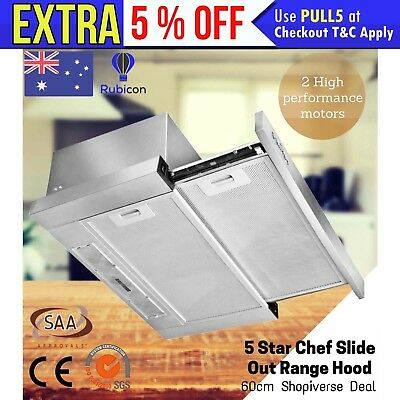 5 Star Chef Slide Out Range Hood 60cm 600mm Slim Canopy Stainless Steel Kitchen
