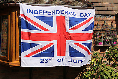 INDEPENDENCE DAY 23rd June Brexit FlAG/BANNER + FREE :Lapel Pin Badge 190x140 cm
