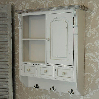 Cream Wall Mounted Cupboard with hooks French country kitchen bathroom storage