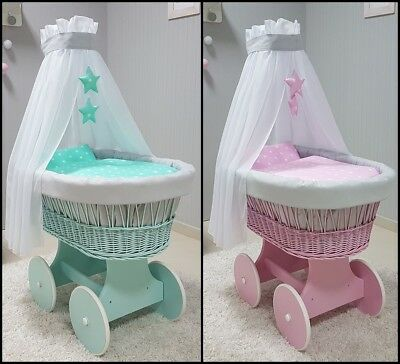 Pink Wicker Moses Basket + Stand + Big Wooden Wheels + Bedding + Drape 3 Designs