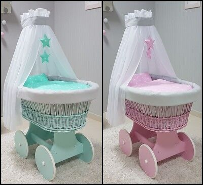 Wicker Moses Basket + Stand + Big Wooden Wheels + Bedding + Drape Pink / Mint