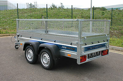 """Car trailer SOLIDUS twin axle 8'7""""x4'1"""" 750kg + mesh caged cage"""