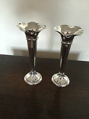 A Pair Of Silver Solifleur Vased With Makers Mark For  James Deakin & Son  6.75